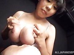 She's a girl and loves pleasuring a man with those big soft breasts. She takes them out of her shirt, squeezes them and then allows this guy to take up with the tongue and suck her nipples. This cutie enjoy it and probably this babe will just love to be repaid with a hard fuck between her boobs, maybe some semen too!