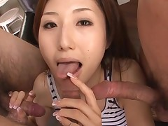 Hot Oriental mamma in heels gets stripped and fucked on couch